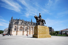 Batalha's abbey(Portugal). Batalha's abbey is one of Europe's greatest Gothic masterpieces.(Portugal)Statue of Nuno Alvares Pereira royalty free stock photo