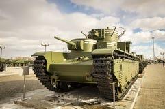 Batalistycznego zbiornika retro eksponat militarnej historii muzeum, Rosja, Yekaterinburg, 31 03 2018 Obrazy Stock