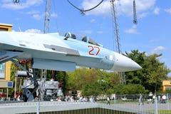 Batalistyczny militarny Bojowego samolotu Rosyjski wojownik Su-27 w Moskwa Zdjęcie Stock