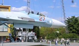 Batalistyczny militarny Bojowego samolotu Rosyjski wojownik Su-27 w Moskwa Obraz Royalty Free