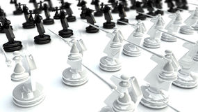 Batalla 1 del ajedrez Imagen de archivo libre de regalías