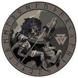 Batalla de dios Odin con el lobo Fenrir Ejemplo de la mitología nórdica ilustración del vector