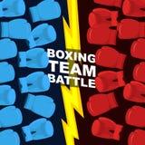 Batalla de encajonamiento del equipo Guantes de boxeo azules y rojos Illustrat del vector Foto de archivo