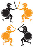 Batalla de gladiadores Imágenes de archivo libres de regalías