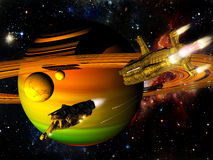 Batalla de las naves espaciales stock de ilustración