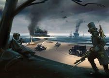 Batalla del estilo de Steampunk en la costa, naves, coches, aeroplanos Imagenes de archivo