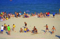 Batalla del final de la raza de la playa fotos de archivo