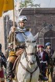 Batalla efectuada medieval - Rievocandum 2015 fotos de archivo