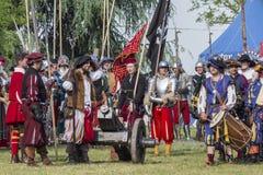 Batalla efectuada medieval - Rievocandum 2015 Foto de archivo libre de regalías