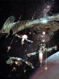 Batalla en espacio Foto de archivo