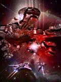 Batalla en espacio ilustración del vector