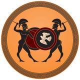 Batalla griega de los warrior's ilustración del vector