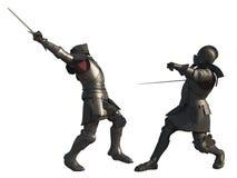 Batalla medieval de los caballeros - aislada en blanco Imagen de archivo libre de regalías