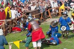 Batalla medieval del festival de la repromulgación de naciones imagen de archivo