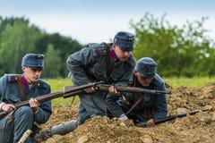 Batallas históricas militares de la reconstrucción de la Primera Guerra Mundial Imágenes de archivo libres de regalías
