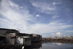 Batang-Dorf-Demolierung in Nord-Jakarta Stockfotos