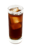 Batanga drink rimmed with salt isolated on white. Batanga is a Mexican drink that contains tequila and cola and is rimmed with salt. Isolated on white Royalty Free Stock Image