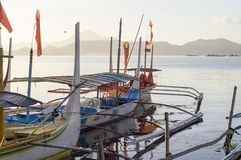 Tourist Boat Parked at Lake shore that cater to inter island travelers. Batangas, Philippines – December 25, 2015: Tourist Boat Parked at Lake shore that stock photography