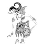 Batara Dewasrani. A character of traditional puppet show, wayang kulit from java indonesia royalty free illustration