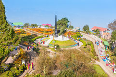 Batasia Loop, Darjeeling. DARJEELING, INDIA - NOVEMBER 17, 2015: The Batasia Loop is a spiral railway of the Darjeeling Himalayan Railway in Darjeeling, India Stock Photo
