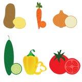 Batata ajustada do vetor do ícone do vetor dos vegetais, cenoura, cebola Foto de Stock Royalty Free