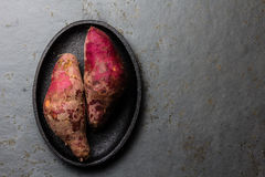 Batata cruda peruviana del camote di patate dolci Vista superiore Fotografie Stock Libere da Diritti