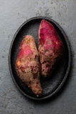 Batata cruda peruviana del camote di patate dolci Vista superiore Immagini Stock