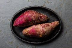 Batata cruda peruviana del camote di patate dolci Vista superiore Immagini Stock Libere da Diritti