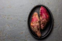 Batata cruda peruviana del camote di patate dolci Vista superiore Immagine Stock Libera da Diritti