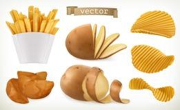 Batata, cunhas e microplaquetas da fritada vegetal Grupo do ícone do vetor Fotografia de Stock