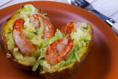 Batata da sopa de peixe do camarão Fotografia de Stock