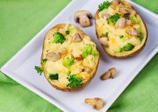 Batata da sopa de peixe dos brócolis, do queijo e do cogumelo Fotos de Stock