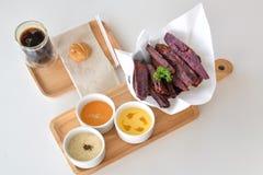 Batata doce roxa do café e do Fried Japanese Imagem de Stock