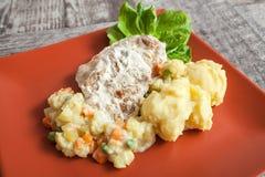 Batata e vegetais da carne imagens de stock