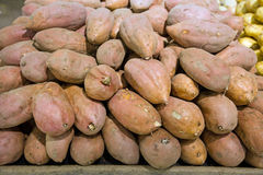 Batata in food store. Batata, sweet potatos on a stall in food market Stock Images
