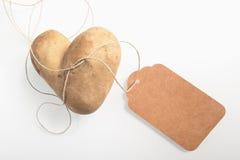 Batata fresca coração-dada forma dobro incomum fotografia de stock