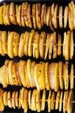 Batatas amarelas cruas em uma casca, corte em fatias As partes são amarradas em espetos de madeira, apresentadas em quatro fileir Foto de Stock