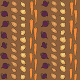 Batatas cenoura das beterrabas e teste padrão sem emenda da cebola Fotos de Stock