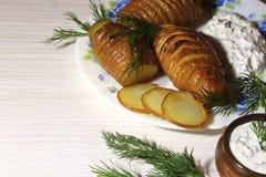 Batatas cortadas cozidas, fritadas com aneto fresco e sauc do creme de leite Imagens de Stock