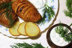 Batatas cortadas cozidas, fritadas com aneto fresco e sauc do creme de leite Imagem de Stock Royalty Free