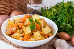 Batatas cozidos da lentilha na placa closeup foto de stock royalty free