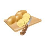 Batatas cruas com uma faca em uma placa de corte, ilustração do vetor Imagens de Stock