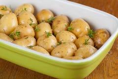 Batatas do bebê da repreensão com tomilho Fotografia de Stock