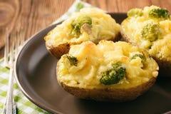 Batatas duas vezes cozidas enchidas com brócolis, creme de leite e queijo Imagem de Stock