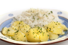 Batatas e arroz Imagens de Stock