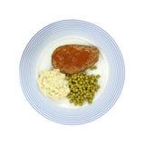 Batatas e ervilhas do Meatloaf na placa Imagens de Stock Royalty Free