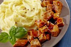 Batatas e guisado triturados da carne Fotos de Stock Royalty Free