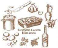 Batatas e ingredientes cozidos Fotografia de Stock
