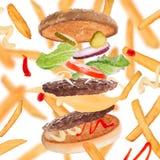 Batatas fritas com hamburguer fotografia de stock