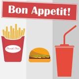 Batatas fritas, Hamburger, cola Projeto liso, ilustração do vetor, vetor ilustração do vetor